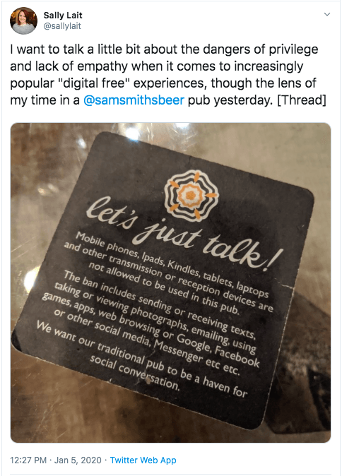 A tweet criticising a pub for banning digital devices on its premises